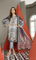 Embroidered Digital Printed Lawn Front. Digital Printed Lawn Back & Sleeves Embroidered Neckline Patch Embroidered Front Patch Dyed Cambric Lawn Trousers Digital Printed Chiffon Dupatta