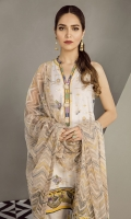 Embroidered Lawn Front Digital Printed Lawn Back & Sleeves Embroidered Front Patch Dyed Cambric Lawn Trousers Embroidered Net Dupatta