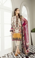 Embroidered Digital Printed Lawn Front  Digital Printed Lawn Back & Sleeves Embroidered Neckline Patch Embroidered Front Patch Dyed Cambric Lawn Trousers Digital Printed Chiffon Dupatta