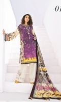 Embroidered Digital Printed Lawn Front Digital Printed Lawn Back+Sleeves Embroidered Front Patches (2) Embroidered Trousers Patches (2) Digital Printed Chiffon Dupatta Dyed Cambric Lawn Trouser