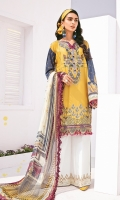 Embroidered Lawn Front Embroidered Lawn Side Panel Digital Printed Lawn Back+Sleeves Embroidered Neckline Patch Embroidered Front Patches (2) Embroidered Trousers Patch Digital Printed Chiffon Dupatta Dyed Cambric Lawn Trouser