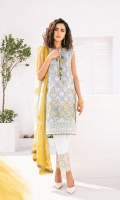 Embroidered Lawn Front Digital Printed Lawn Back And Sleeves Embroidered Front Patch Embroidered Trousers Patch Digital Printed Chiffon Dupatta Dyed Cambric Lawn Trouser