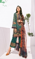 Digital Printed Lawn Shirt Embroidered Neckline Patch Embroidered Front Patches (2) Embroidered Trousers Patch Digital Printed Chiffon Dupatta Dyed Cambric Lawn Trouser