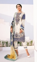 Embroidered Lawn Front Digital Printed Lawn Back And Sleeves Embroidered Neckline Patch Embroidered Front Patch Digital Printed Chiffon Dupatta Dyed Cambric Lawn Trouser