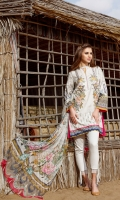 Digital Printed Lawn Shirt Embroidered Front Patch Dyed Cambric Lawn Trousers Digital Printed Chiffon Dupatta