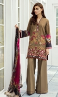 DIGITAL PRINTED LAWN SHIRT EMBROIDERED FRONT PATCHES (2)  DYED CAMBRIC LAWN TROUSERS  DIGITAL PRINTED CHIFFON DUPATTA
