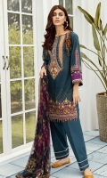 DIGITAL PRINTED LAWN SHIRT  EMBROIDERED NECKLINE PATCH  EMBROIDERED SHOULDER PATCH  EMBROIDERED FRONT PATCH  DYED CAMBRIC LAWN TROUSERS  DIGITAL PRINTED CHIFFON DUPATTA