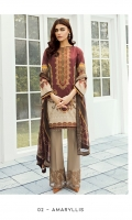 DIGITAL PRINTED LAWN SHIRT  EMBROIDERED NECKLINE PATCH  EMBROIDERED FRONT PATCH  EMBROIDERED TROUSERS PATCH  DYED CAMBRIC LAWN TROUSERS  DIGITAL PRINTED CHIFFON DUPATTA