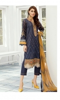 EMBROIDERED LAWN FRONT  DIGITAL PRINTED LAWN BACK + SLEEVES  EMBROIDERED NECKLINE PATCH  EMBROIDERED FRONT PATCHES (2)  DYED CAMBRIC LAWN TROUSERS  DIGITAL PRINTED CHIFFON DUPATTA