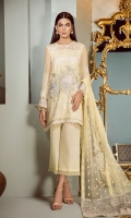 Embroidered Front Embroidered Sleeves Embroidered Sleeves Patch Embroidered Front and Back Patch Plain Back Silk Trousers Embroidered Net Dupatta
