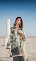 Digital Printed Khaddar Shirt Digital Printed Twill Shawl Dyed Khaddar Trousers Embroidered Neckline Patch Embroidered Sleeve Patch