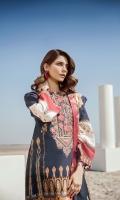 Digital Printed Khaddar Shirt Digital Printed Twill Shawl Dyed Khaddar Trousers Embroidered Neckline Patch