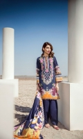 Digital Printed Khaddar Shirt Digital Printed Twill Shawl Dyed Khaddar Trousers Embroidered Neckline Patch