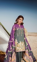 Digital Printed Khaddar Shirt Digital Printed Twill Shawl Dyed Khaddar Trousers Embroidered Front Patch