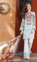 Digital Printed Lawn Shirt 3.15 Meter Embroidered Front Bottom Patch 1.00 Meter Embroidered Sleeves Patch 1.00 Meter Digital Printed Pure Chiffon Dupatta 2.50 Meter Dyed Cambric Lawn Trousers 2.50 Meter Embroidered Trousers Patch 1.00 Meter