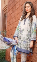 Digital Printed Lawn Shirt (With Embroidered Front) 3.15 Meter Embroidered Front Bottom Patch 1.00 Meter Digital Printed Pure Silk Dupatta 2.50 Meter Printed Cambric Lawn Trousers 2.50 Meter Embroidered Trousers Patch 2 Piece