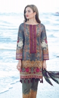 Digital Printed Lawn Shirt 3.15 Meter Digital Printed Pure Silk Dupatta 2.50 Meter Embroidered Front Bottom Patch 1.00 Meter Dyed Cambric Lawn Trousers 2.50 Meter Embroidered Trousers Patch 1.00 Meter Embroidered Sleeves Patch 1.00 Meter Embroidered Nickline Patch 1 Piece Embroidered Front Side Patch 2 Pieces