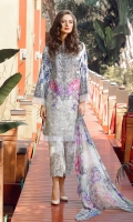 Digital Printed Lawn Shirt 3.15 Meter Digital Printed Pure Chiffon Dupatta 2.50 Meter Embroidered Front Bottom Patch 1.00 Meter Printed Cambric Lawn Trousers 2.50 Meter Embroidered Trousers Patch 1.00 Meter