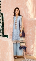 Embroidered Lawn Front  Digital Printed Lawn Back + Sleeves  Embroidered Neckline Patch  Embroidered Front Patch  Embroidered Trousers Patches(3)  Dyed Cambric Lawn Trousers  Digital Printed Silk Dupatta