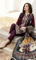 Embroidered Jacquard Lawn Front  Embroidered Jacquard Lawn Sleeves  Digital Printed Lawn Back  Embroidered Sleeves Patch  Embroidered Front Patch  Dyed Cambric Lawn Trousers  Digital Printed Silk Dupatta