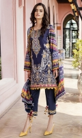 Embroidered Jacquard Lawn Front  Digital Printed Lawn Back + Sleeves  Embroidered Neckline Patch  Embroidered Front Patch  Embroidered Trousers Patch  Dyed Cambric Lawn Trousers  Digital Printed Silk Dupatta