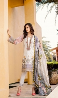 Embroidered Lawn Front  Digital Printed Lawn Back + Sleeves  Embroidered Neckline Patch  Embroidered Front Patches(3)  Embroidered Trousers Patch  Dyed Cambric Lawn Trousers  Digital Printed Silk Dupatta