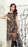 Embroidered Lawn Front Digital Printed Lawn Back & Sleeves Embroidered Lawn Side Panels Embroidered Front Border Patch Digital Printed Pure Silk Dupatta Dyed Cambric Lawn Trousers Embroidered Trousers Patch
