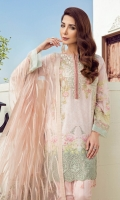 Digital Printed Lawn Shirt Embroidered Front Neckline Patch Embroidered Front Border Patch Embroidered Net Dupatta Embroidered Net Dupatta Border Dyed Cambric Lawn Trousers
