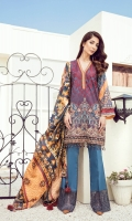Embroidered Digital Printed Lawn Front Digital Printed Lawn Back & Sleeves Embroidered Front Border Patch Digital Printed Pure Silk Dupatta Dyed Cambric Lawn Trousers Embroidered Trousers Patch