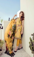 Embroidered Jacquard Lawn Front Digital Printed Lawn Back & Sleeves Embroidered Jacquard Lawn Side Panels Embroidered Front Border Patch Digital Printed Pure Silk Dupatta Dyed Cambric Lawn Trousers Embroidered Trousers Patch