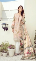 Embroidered Digital Printed Lawn Front Digital Printed Lawn Back & Sleeves Embroidered Front Border Patch Digital Printed Pure Silk Dupatta Dyed Cambric Lawn Trousers