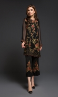 2 Piece  Fabric Shirt : Chiffon  Embroidered  Trouser  Color: Black  Includes : Shirt & Trouser with Lining and Accessories