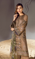 Embroidered Swiss Lawn Front Panel Embroidered Swiss Lawn Side Panels Embroidered Swiss Lawn Sleeves Plain Swiss Lawn Back Embroidered Sleeves Patch Embroidered Front & Back Patch Dyed Cambric Lawn Trousers Digital Print Chiffon Dupatta