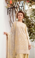 EMBROIDERED SWISS LAWN FRONT EMBROIDERED SWISS LAWN SIDE PANEL PLAIN SWISS LAWN BACK EMBROIDERED SWISS LAWN SLEEVES EMBROIDERED SLEEVES PATCH EMBROIDERED FRONT + BACK PATCH DYED CAMBRIC LAWN TROUSERS DIGITAL PRINTED CHIFFON DUPATTA
