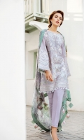 EMBROIDERED SWISS LAWN FRONT PLAIN SWISS LAWN BACK EMBROIDERED SWISS LAWN SLEEVES EMBROIDERED SLEEVES PATCH EMBROIDERED FRONT + BACK PATCH  DYED CAMBRIC LAWN TROUSERS  DIGITAL PRINTED CHIFFON DUPATTA