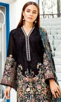 EMBROIDERED SWISS LAWN FRONT EMBROIDERED SWISS LAWN SIDE PANEL PLAIN SWISS LAWN BACK EMBROIDERED SWISS LAWN SLEEVES EMBROIDERED SLEEVES PATCH EMBROIDERED NECKLINE PATCH EMBROIDERED FRONT + BACK PATCH DYED CAMBRIC LAWN TROUSERS DIGITAL PRINTED CHIFFON DUPATTA