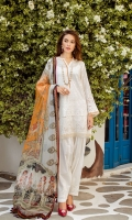 EMBROIDERED SWISS LAWN FRONT PLAIN SWISS LAWN BACK EMBROIDERED SWISS LAWN SLEEVES EMBROIDERED SLEEVES PATCH EMBROIDERED FRONT + BACK PATCH DYED CAMBRIC LAWN TROUSERS DIGITAL PRINTED CHIFFON DUPATTA EMBROIDERED TROUSERS PATCH