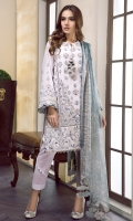 EMBROIDERED SWISS LAWN FRONT PANEL EMBROIDERED SWISS LAWN SIDE PANEL EMBROIDERED SWISS LAWN SLEEVES PLAIN SWISS LAWN BACK EMBROIDERED SLEEVES PATCH EMBROIDERED FRONT + BACK PATCHES DIGITAL PRINTED CHIFFON DUPATTA DYED CAMBRIC LAWN TROUSERS