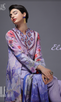 2.5 Meter Pure Silk Dupata  3.20 Meter Print Shirt  Embroidered Patch  Lace : 2 Yards  2.5 Meter Dyed Trouser