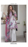 Chiffon Dupatta: 2.5 M Cambric Front Printed: 1.1 M Cambric Back Printed: 1.1 M Cambric Sleeves Printed: 0.6 M Cambric Dyed Pants: 2.5 M Embroidered Front Border: 0.7 M Embroidered Pant Border: 1.0 M Embroidered Neckline