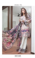 Chiffon Dupatta: 2.5 M Cambric Front Printed: 1.1 M Cambric Back Printed: 1.1 M Cambric Sleeves Printed: 0.6 M Cambric Dyed Pants: 2.5 M Embroidered Front Border: 0.7 M Embroidered Pant Border: 1.0 M Embroidered Neckline Patti: 0.9 M