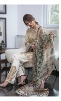 Chiffon Dupatta: 2.5 M Cambric Front Printed: 1.1 M Cambric Back Printed: 1.1 M Cambric Sleeves Printed: 0.6 M Cambric Dyed Pants: 2.5 M Embroidered Front Border: 0.7 M Embroidered Pant Motifs: 2 P Embroidered Side Patti: 2.0 M Embroidered Neckline