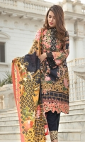 Shawl Printed: 2.5 M Khaddar Front Printed: 1.1 M Khaddar Back Printed: 1.1 M Khaddar Sleeves Printed: 0.6 M Khaddar Dyed Pants: 2.5 M Embroidered Neckline: 1 Pc Embroidered Front Border: 0.7 M Embroidered Pant Border: 1.0 M