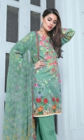 Chiffon Dupatta Printed: 2.5 M Cambric Front Printed: 1.1 M Cambric Back Printed: 1.1 M Cambric Sleeves Printed: 0.6 M Cambric Dyed Pants: 2.5 M Embroidered Neckline: 1 Pc Embroidered Front Border: 0.7 M Embroidered Pant Motifs: 2 Pc