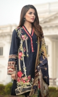 Khaddi Net Dupatta Printed: 2.5 M Khaddar Front Embroidered: 1.1 M Khaddar Back Dyed: 1.1 M Khaddar Sleeves Dyed: 0.6 M Khaddar Dyed Pants: 2.5  Embroidered Front Patch: 2 Pc Embroidered Front Border: 0.7 M Embroidered Pant Motifs: 2 Pc