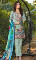 Shawl Printed: 2.5 M Khaddar Front Printed: 1.1 M Khaddar Back Printed: 1.1 M Khaddar Sleeves Printed: 0.6 M Khaddar Dyed Pants: 2.5 M Embroidered Neckline: 1 Pc Embroidered Front Border: 0.7M Embroidered Pant Motifs: 2 Pc