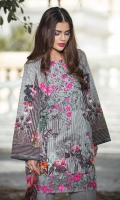 Chiffon Dupatta Printed: 2.5 M Khaddar Front Printed: 1.1 M Khaddar Back Printed: 1.1 M Khaddar Sleeves Printed: 0.6 M Khaddar Dyed Pants: 2.5 M Embroidered Neckline: 1 Pc Embroidered Front Border: 0.7M