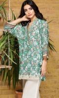 Printed Lawn Shirt: 3 Meter Dyed pant: 2.5 Meter Embroidered Neckline Patti: 1 Meter