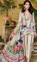Silk Dupatta: 2.5 Meter Shirt Front Printed: 1.1 Meter Back Printed: 1.1 Meter Sleeves Printed: 0.6 Meter Dyed Pant: 2.5 Meter Embroidered Neckline Patti: 1 Meter Front Embroidered Border: 0.7 Meter Two Embroidered Pant Motifs