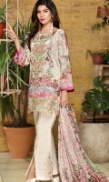 Silk Dupatta: 2.5 Meter Shirt Front Printed: 1.1 Meter Back Printed: 1.1 Meter Sleeves Printed: 0.6 Meter Dyed Pant: 2.5 Meter One Embroidered Neckline Front Embroidered Border: 0.7 Meter Two Embroidered Pant Motifs